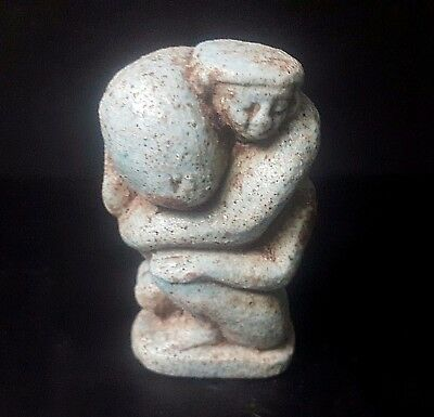 RARE ANCIENT EGYPTIAN Erotic Faience statue  A man carrying his penis 300–600BC