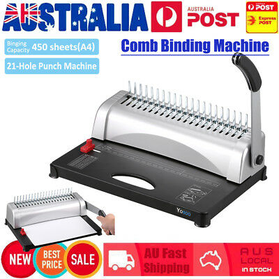 A4 Paper Puncher + Binder Punch 450 Sheets  Binding Machine 21 Holes Home Office