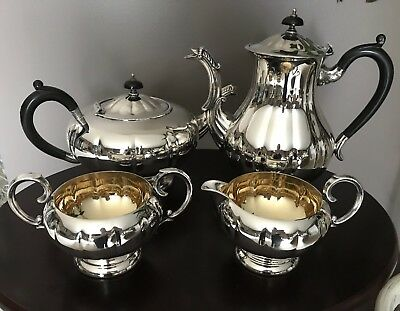 Marlboro Plate Old English Reproduction Silver Plated Four Piece Teapot Set