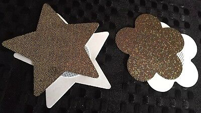 GOLD Star + Flower Sparkly Glitter Look Self-Adhesive Nipple Covers Pasties AU