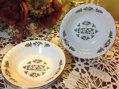 CHURCHILL Fine English Tableware (4) 6 1/4  Noel Coupe Cereal Bowls & CHURCHILL FINE ENGLISH Tableware (4) 6 1/4