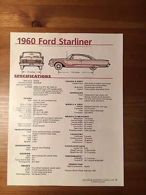 1960 Ford Starliner Specification Sheet