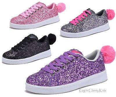 New Girls Glitter Pom Pom Sneakers Dress Shoes Tennis Casual Kids Youth Shimmer