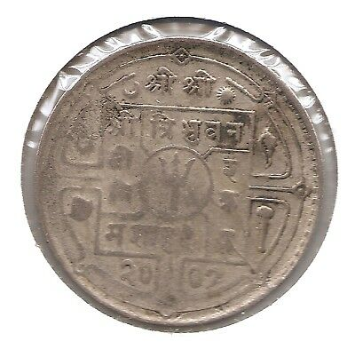 Nepal Silver VS2007 1950 1 Rupee (KM726) Possibly Struck Through Grease