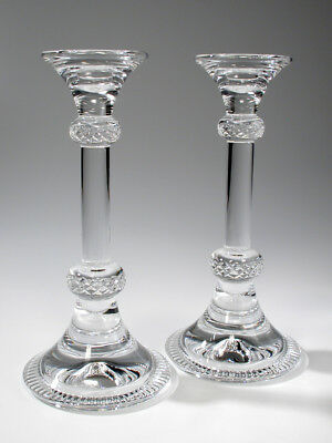 """Beautiful Pair of Large Crystal Candlesticks 9-7/8"""" Tall"""