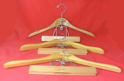 SETWELL Set of 3 Vtg Suit Pants/Jacket Hangers Wood  VGC