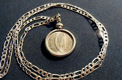 "1968 IRISH LUCKY RABBIT COIN PENDANT on a 28""  925 STERLING SILVER Chain"