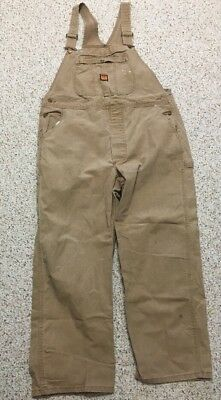 Vtg Big Ben Overalls 40x30 Made In USA Brown Tan