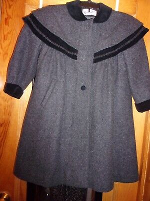 Girls Grey Long Wool Elegant Holiday Rothchild Coat Trimed In Black Velve Size 8