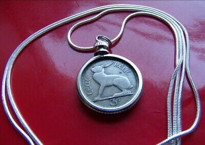 "1965 IRISH LUCKY RABBIT COIN PENDANT on a 28""  925 STERLING SILVER Chain"