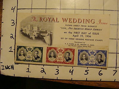 Vintage Envelope April 19, 1956 ROYAL WEDDING Issue  creased card