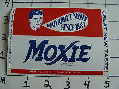 Original Vintage Label: MAD about Moxie, 26 oz great new taste