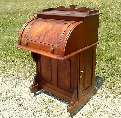 Davenport Cylinder Roll Top Desk Victorian Circa 1875 Antique
