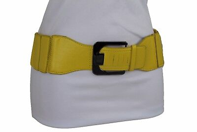 Women Belt Pewter Metal Buckle Yellow Faux Leather Elastic Band Plus Size M L XL
