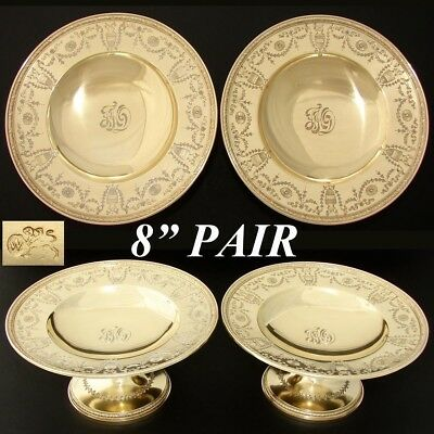 """Rare Antique 1917 Whiting 14k Gold on Sterling Silver 8"""" Compote PAIR, Empire"""
