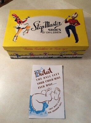 Vintage Step Master Children Shoe Box With Paperworks Nice Graphics