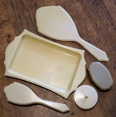 Art Deco circa 1920's *IVORY - PYRALIN - DU BARRY* 5 x Celluloid Vanity Items
