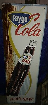 """Vintage 54"""" X 18"""" Faygo Cola Vertical Metal Bottle Sign In Good Shape With F/S"""