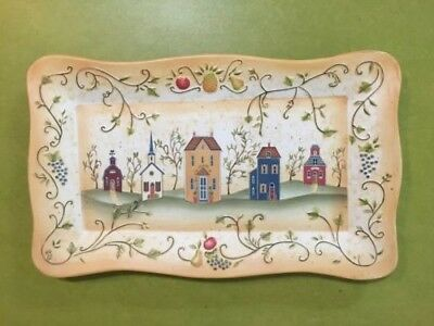 """PartyLite Tray Winding Lane by Susan Winget 17"""" x 10"""" - Not for Food Use"""