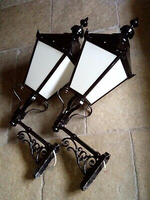 Pair of Victorian style large wall mount lanterns 900mm high x 300mm square