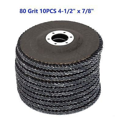"""10x 4-1/2"""" 7/8"""" Zirconia Outer Sanding Flap Discs Angle Grinder Wheels 80 Grits"""
