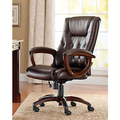 BROWN Office Chair Executive Desk Wheels Arm Heavy Duty And Tall Leather Big Man