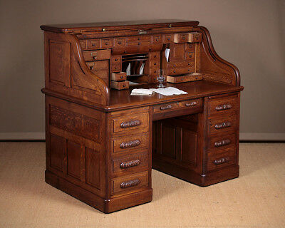 Large Antique Oak Roll Top Desk c.1905.