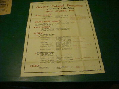 Original Vintage POSTER -- WW1 German Colonial Possessions since Aug 1914 -20x27