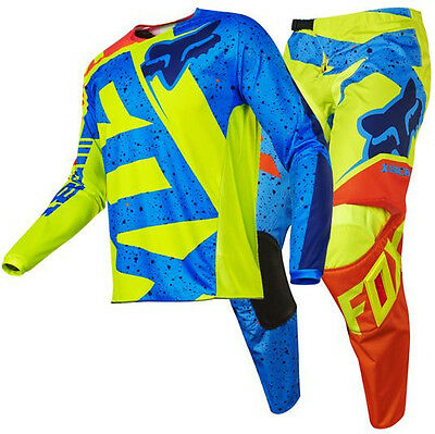 New FOX Racing MX 2017 180 Nirv Yellow Blue Mens Motocross Jersey & Pants Outfit