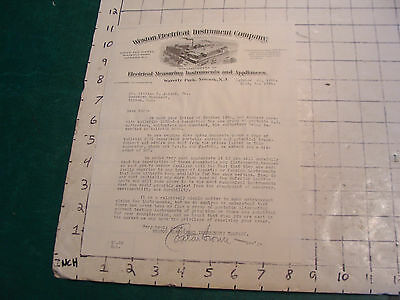original WESTON ELECTRIC INSTRUMENT CO. signed letter, 1915