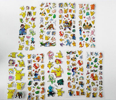 9pcs Different Pokemon GO Sticker Puffy Pikachu Pocket Monster Scrapbooking