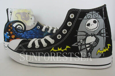 custom The Nightmare Before Christmas canvas hand painted shoe/gift/women/mens