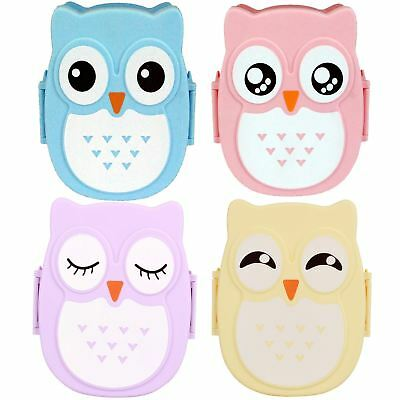 Kids Childrens Owl Food Storage Lunch Box School Travel Trips Blue Pink