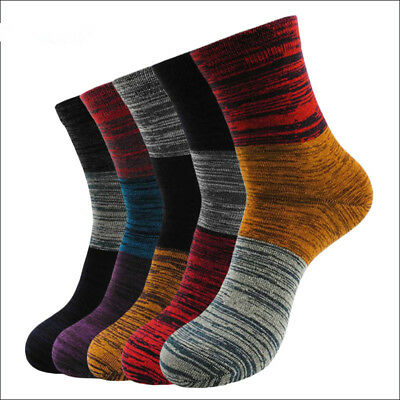 5 Pairs Mens Cotton Socks Lot Tendy style 3 Color stitching Casual Dress Socks