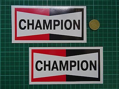 """CHAMPION Spark Plugs Pre-War Style Oval Car STICKERS 3.5/""""Pair Offy HWM Bike Race"""