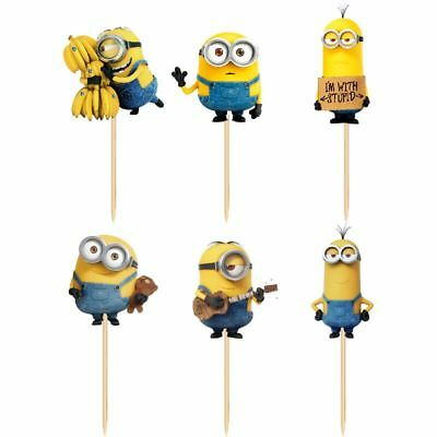 NEW 24pcs Cute Minions Cupcake Toppers Birthday Party Decor