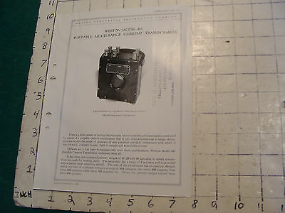 orig. 1922 WESTON Electric inst. bulletin: MODEL 461, CURRENT TRANSFORMERS