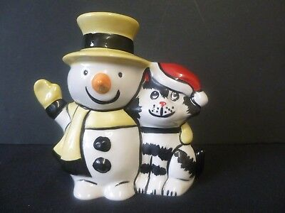 """Lorna Bailey """"Snowman Cat"""" Brand New Hand Painted & Signed"""