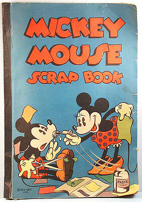 1936 Mickey Minnie Mouse Original Scrap Book w/Contents Walt Disney Enterprises