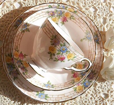 Tuscan - Pink China Teacup,Saucer & Side Plate Trio - Excellent Condition