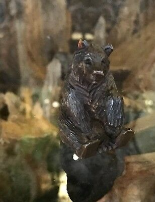 """Antique Vintage Hand Carving of a Black Forest Swiss Baby Bear 2"""" High"""