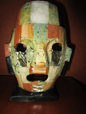 Mayan Mexican Semi Precious Face Mask With Marble Base