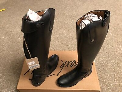 Mark Todd Long Leather Riding Boots - Black - Size 8 Wide Calf