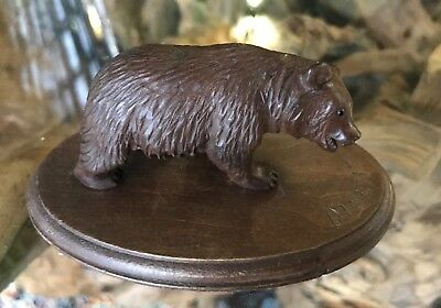Antique Vintage Hand Carving of a Black Forest Swiss Bear  Inscribed Disentis