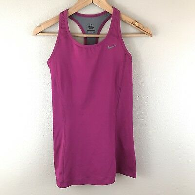 Nike Womens Tank Top Dri-Fit Racerback Small Fitness Pink Built In Bra Athletic