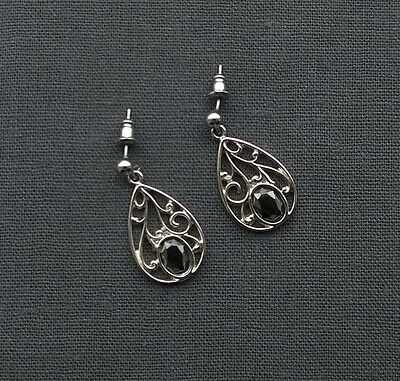Genuine Solid 925 Sterling Silver Teardrop Shape Earrings Superb