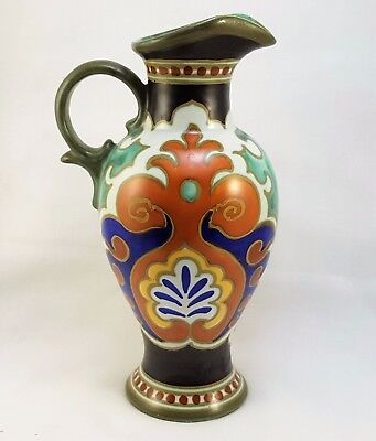 """Hand Painted Gouda Holland Pottery Jug Pitcher - 8 3/4"""" Or 223 Mm High"""