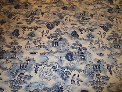 Vtg. Blue Willow (1) Yd. Cotton Fabric - All Over Design - c1980's - New York NY
