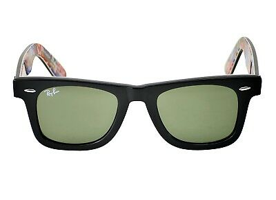 22125768951cb ... france ray ban rb 2140 original wayfarer rare print 1136 black multi  frame green 96972 012f8