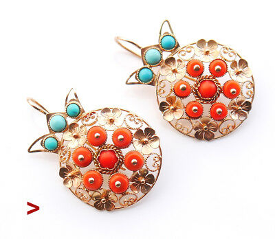European Dangle Earrings solid 14K Rose Gold 14ct Red Coral Turquoise/24gr